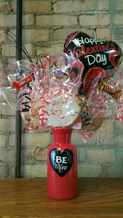 Valentine's Day Red & Black Vase filled with M&Ms Cookie Bouquet