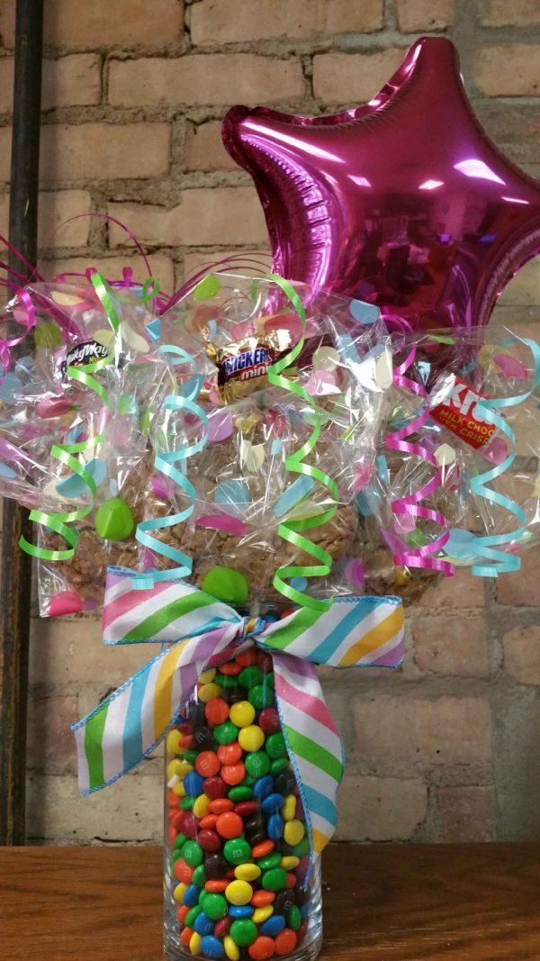 Pastel M&M filled Vase Cookie Bouquet