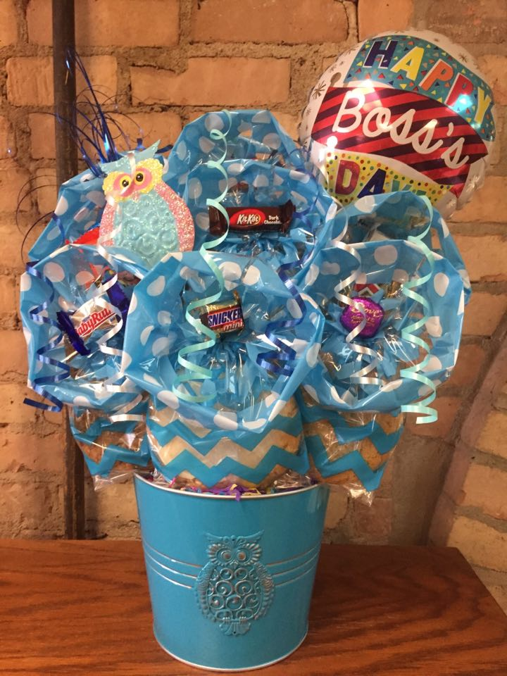 Boss's Day Owl Tin Cookie Bouquet
