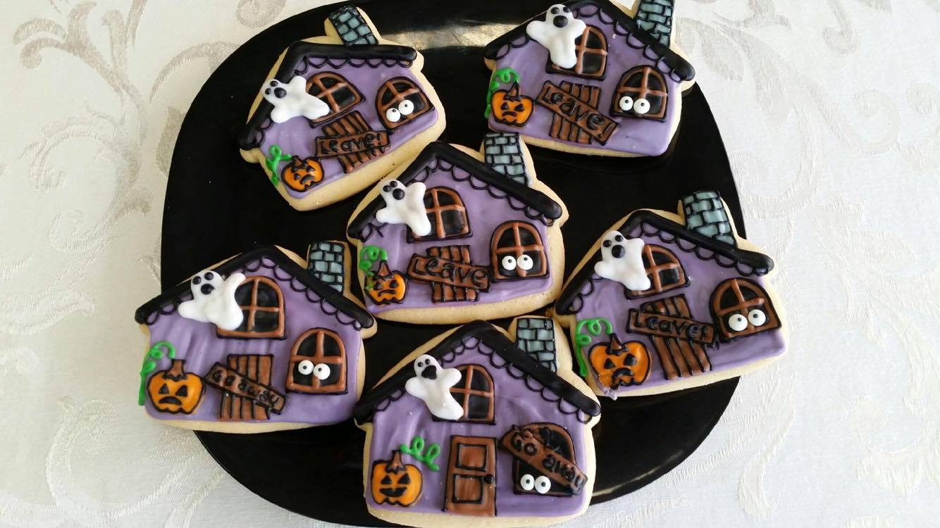 Haunted House Decorated Cookies
