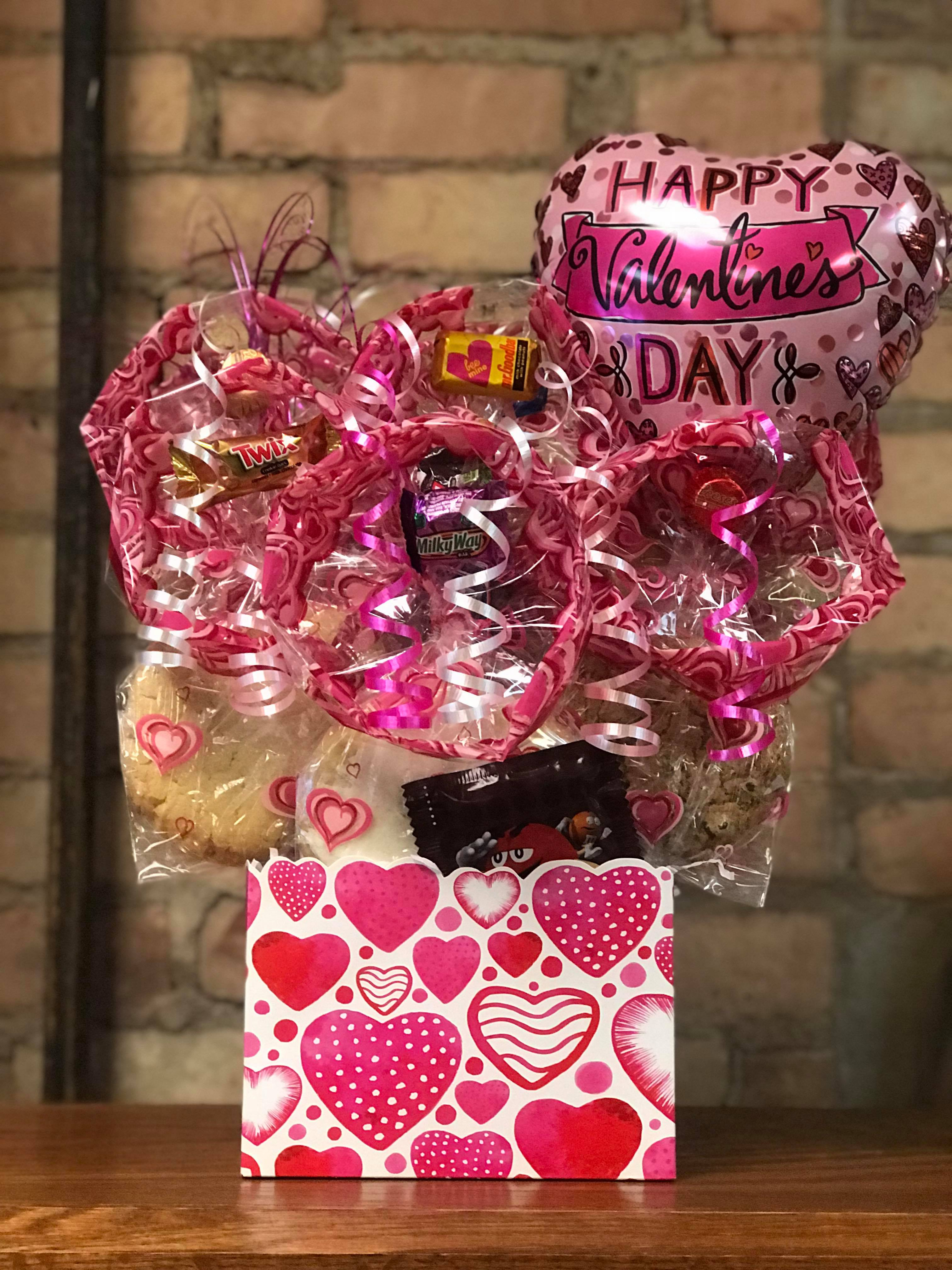 Water Color Heart Diecut Box Cookie Bouquet