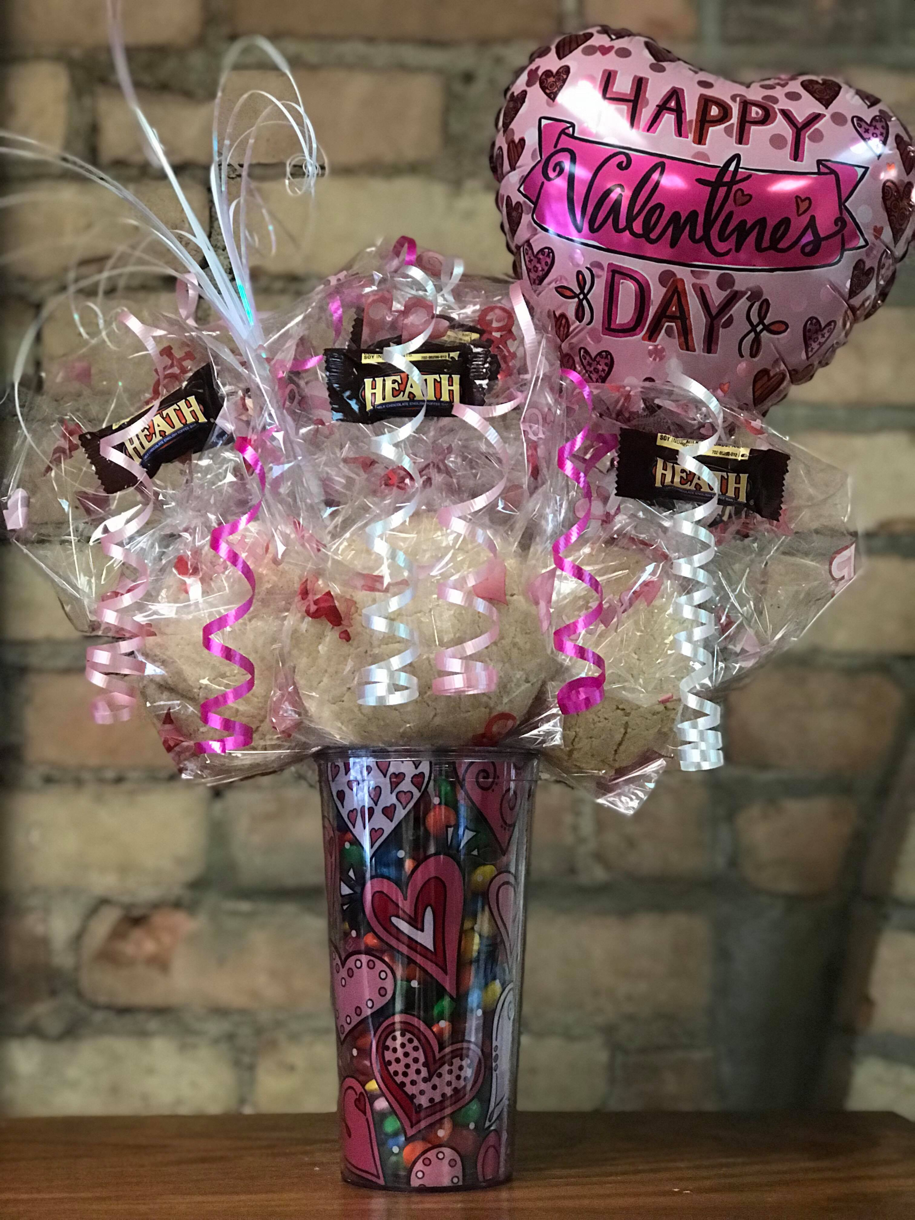 M&M filled Pink Heart Tumbler Bouquet