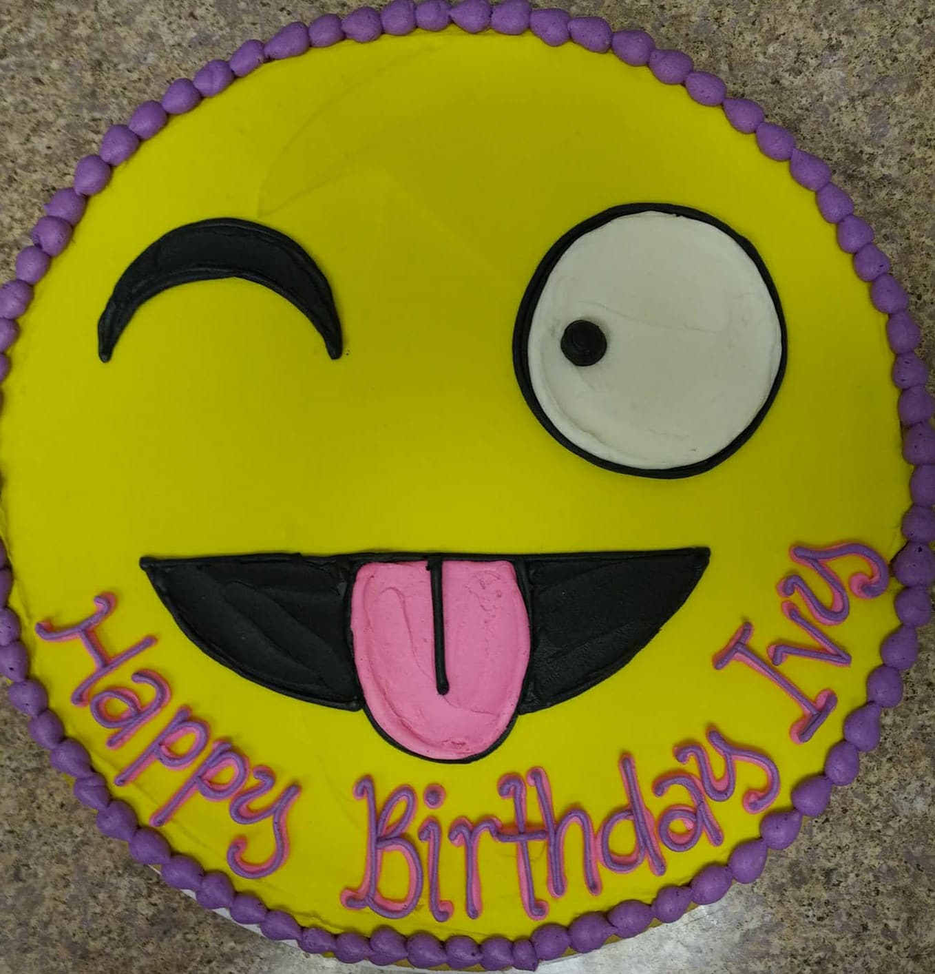 Happy Birthday Emoji Cookie Pizza