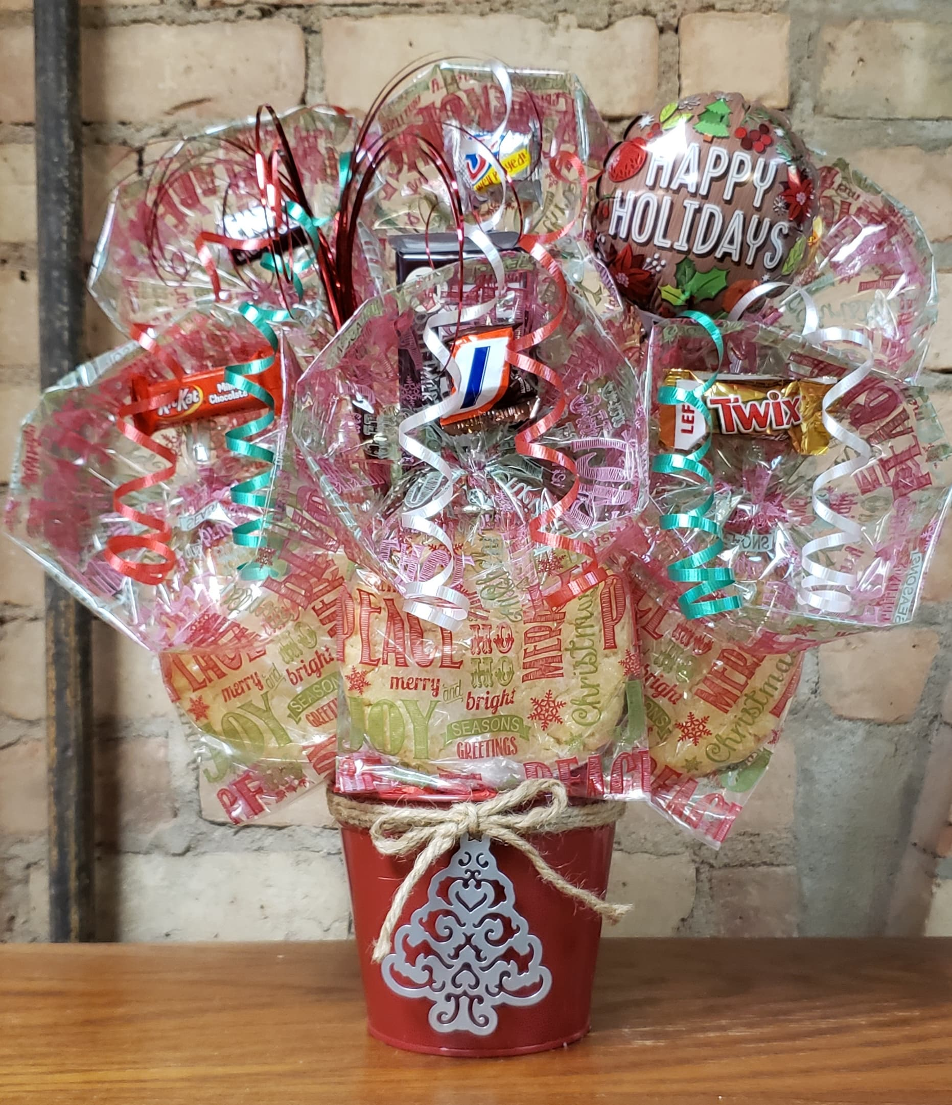 Red Tin with a Silver Christmas Tree Cookie Bouquet