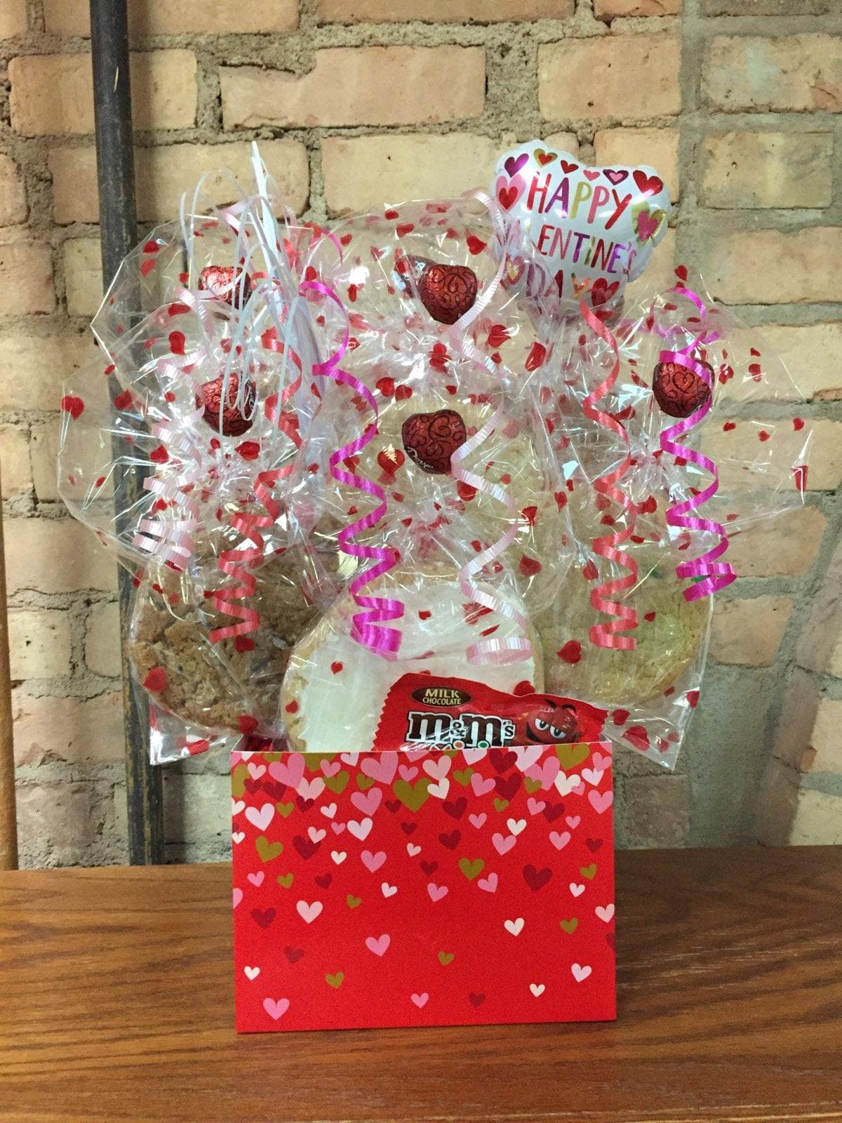 Red, Gold, and Pink Heart Diecut Box Cookie Bouquet