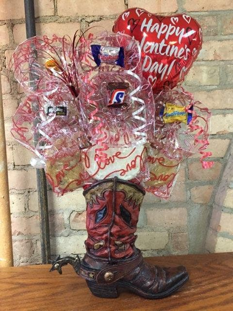 Valentine's Day Cowboy Boot Cookie Bouquet