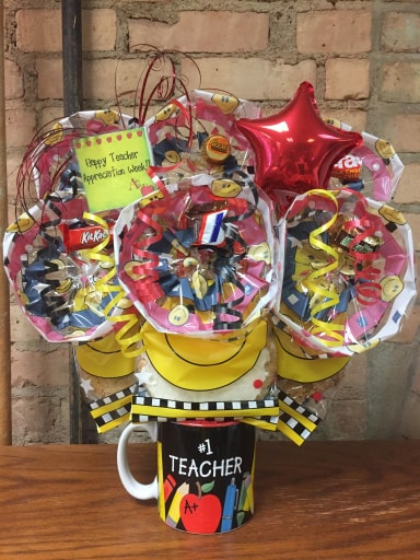 #1 Teacher Mug Cookie Bouquet