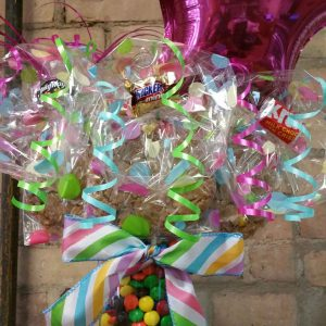 Pastel M&M filled Vase Cookie Bouquet
