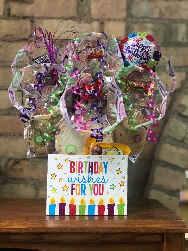 """Birthday Wishes For You"" Diecut Box Cookie Bouquet"