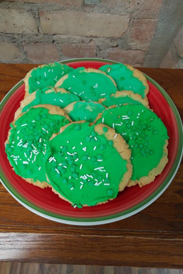 St. Patrick's Day Sprinkled Frosted Sugar Cookies