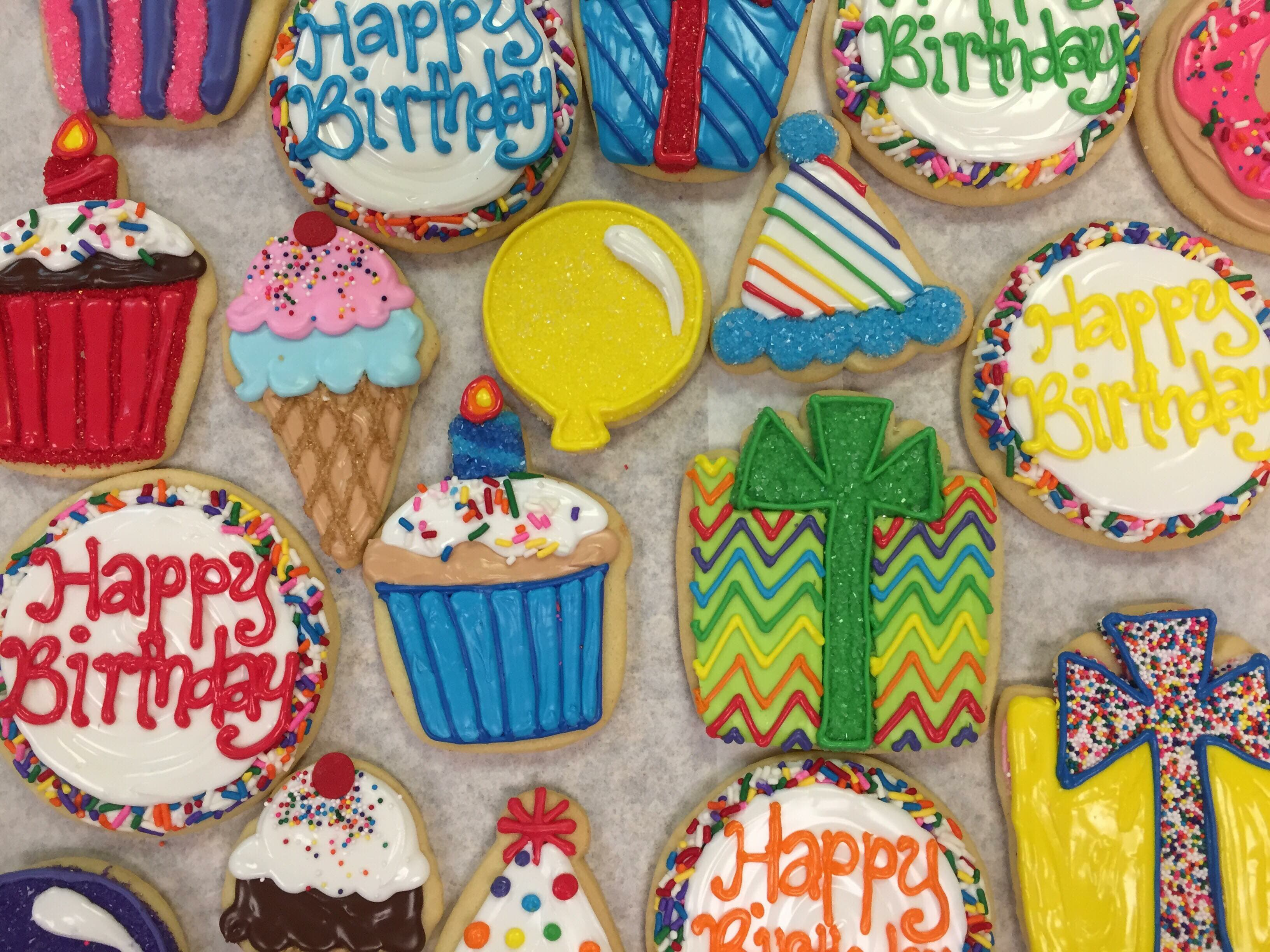 Assorted Happy Birthday Cookies