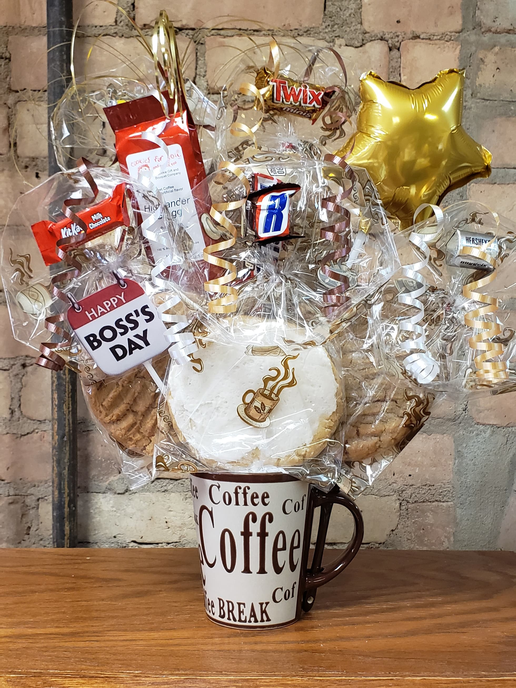 Boss's Day Coffee Lover Mug Cookie Bouquet