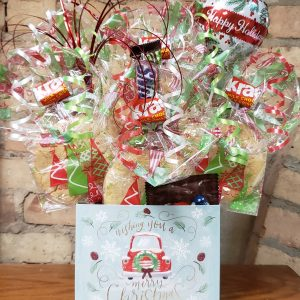 """""""We Wish You a Merry Christmas"""" Truck Diecut Cookie Bouquet"""