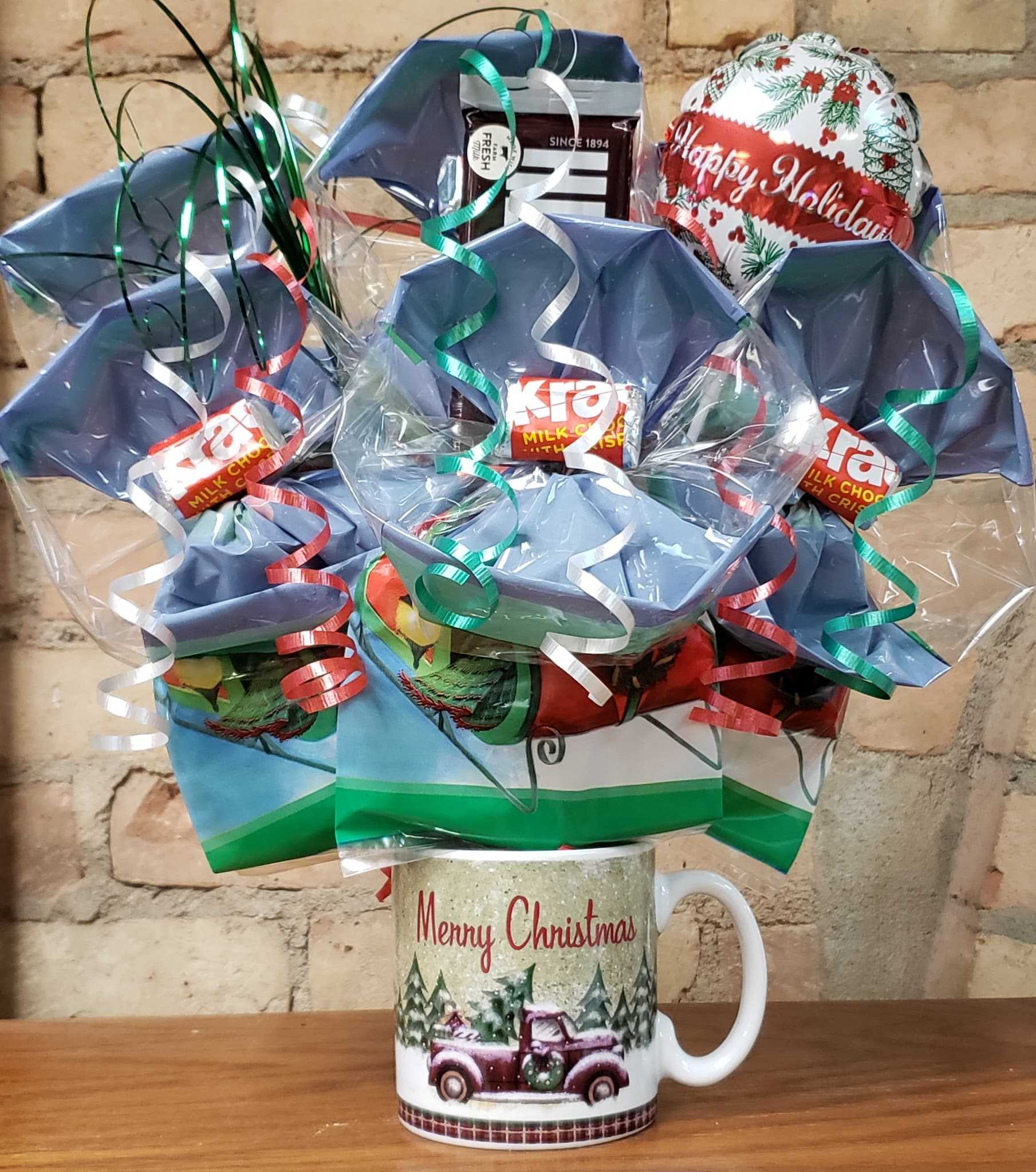 """Merry Christmas"" Truck Mug Cookie Bouquet"