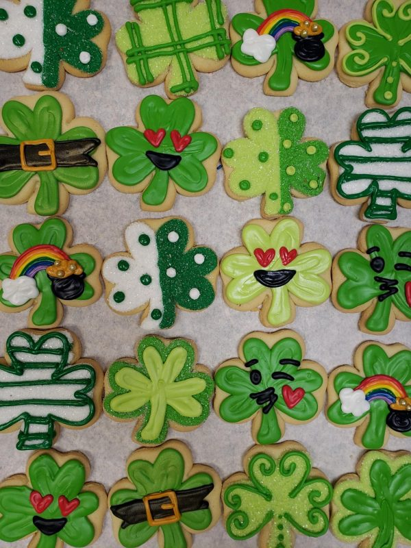 Assorted Shamrock Decorated Cookies