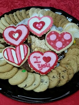 Valentine's Day Sweets Tray with Large Decorated Cookies