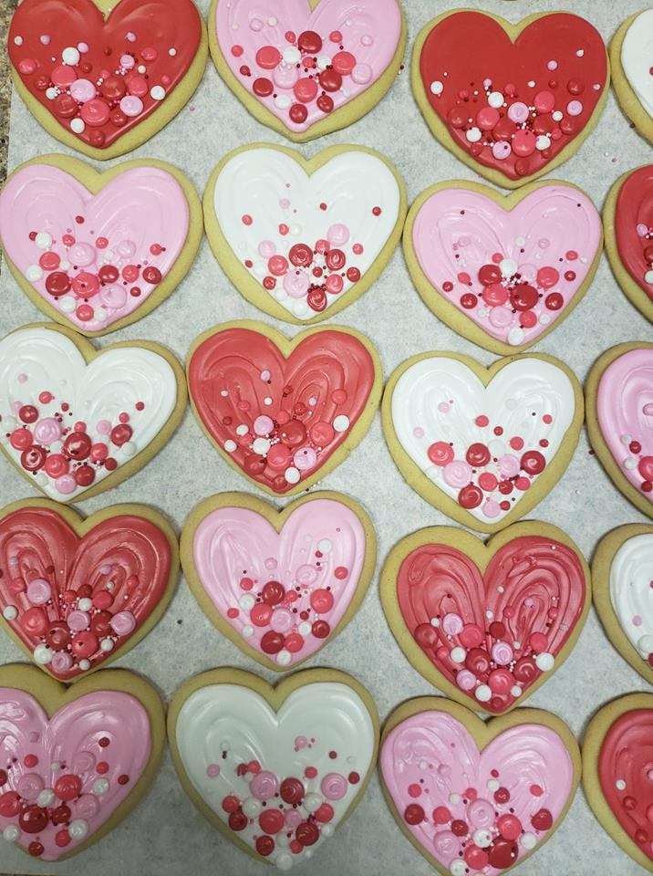 Bubbly Heart Cutout Cookies
